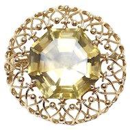Smoky Quartz 14K Rose Gold Filigree Brooch Pendant