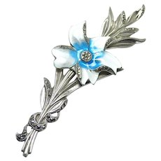 Marcasite and Enamel Sterling Silver Flower Pin Brooch