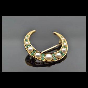 Illuminating 14k yellow gold antique victorian  green emerald crescent moon