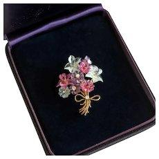 Tiffany & Co Carved Gemstone Flower Bouquet Brooch, 18k