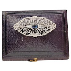 Art Deco Sapphire Filigree Pin, 10k