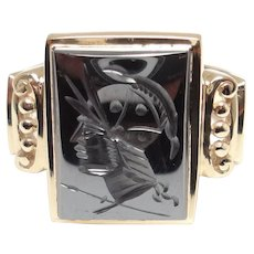 Vintage Gentleman's Hematite Intaglio 10 Karat Gold Ring – Size 11