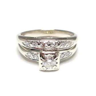 Diamond Wedding Ring with Matching Band
