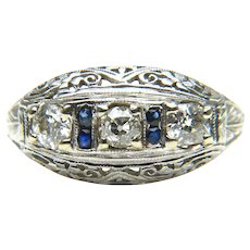 Diamond and Sapphire Art Deco Filigree Ring