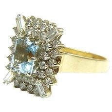 Emerald Cut Aquamarine and Diamond 14 Karat Gold Ring