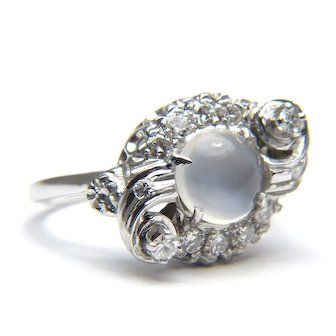 Moonstone and Diamond Glowing 14 Karat Gold Ring