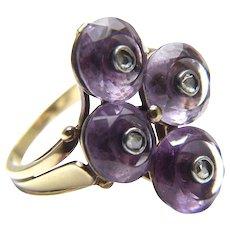 Mid Century Modern Amethyst Diamond Ring