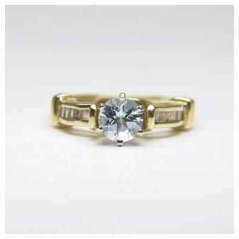 WENDY DARLING Vintage Aquamarine & Diamond 14 Karat Gold Ring