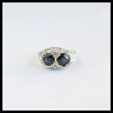 Art Deco Sapphire Toi-et-Moi Ring, Platinum