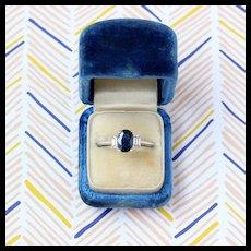Sapphire & Diamond Three-Stone Engagement Ring, 14k