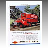 1948 Ads - DIAMOND T TRUCKS - 'An enviable record for over 25 years' / Youngstown Kitchens (on reverse)