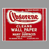 SIX Vintage LABELS - ABSORENE Brand Cleaner - 'The Ball of Magic'