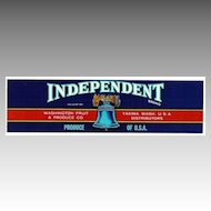 Vintage Fruit CRATE LABEL - 'Independent' Brand Cherries - Liberty Bell Motif