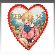 Embossed Vintage VALENTINE - 'Feb 14 Boy in Heart'