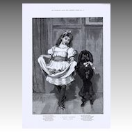 Antique PRINTS - TWO Victorian CHRISTMAS Theme Engravings (Framer's Choice) c.1890s