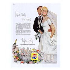 1956 Ad - PEPSI-COLA - 'Most likely to succeed' w/ Wedding Theme