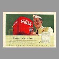 1940 Ads - Coca-Cola COKE - feat. Soda Jerk / PENNSYLVANIA Tourism (on reverse)