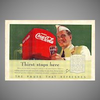 1940 Ads - Coca-Cola COKE - feat. Soda Jerk / PENNSYLVANIA Tourism (on reverse)