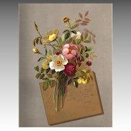 Antique PRINT - 'Brier ROSES' ~ Victorian Chromolithograph c.1880s
