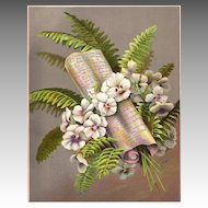 Antique PRINT - 'White Heartsease PANSIES' ~ Victorian Chromolithograph c.1880s