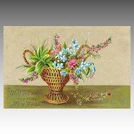 Victorian Scrap NEW YEAR Card - Floral Basket Motif
