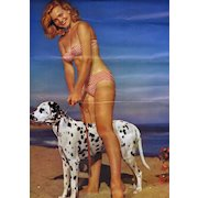 "Vintage PIN-UP Calendar PRINT - ""Pair of Beauties"" ~ Model w/ Dalmation Dog"