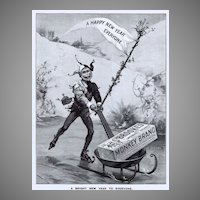 1899 Ad - Brooke's MONKEY Brand SOAP - 'Happy New Year' Theme - XLG