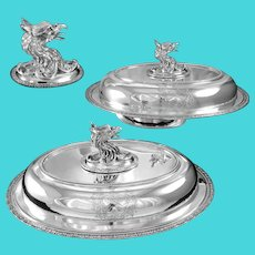 TIFFANY : Rare Pair of Sterling or Coin Silver Entree Dishes with Griffin Finial, Armorial Crests, J.C. Moore c. 1853