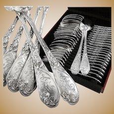 PUIFORCAT : 30pc Antique French Art Nouveau IRIS Sterling Silver Flatware Set