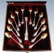 13pc Antique French Sterling Silver & Vermeil Louis XV Tea Service, Spoons & Sugar Tongs