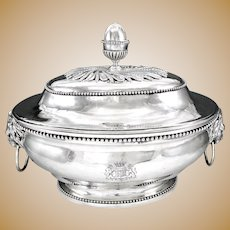 Spectacular Antique 18th century French Sterling Silver Soup Tureen with Royal Armorial / Coat of Arms, Paris 1784