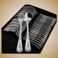 PUIFORCAT : Antique French 'Louis XV' Sterling Silver 24pc Dinner Flatware Set