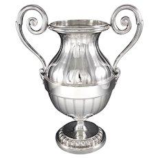 """KELLER : Striking Antique French Sterling Silver & Vermeil 10.3"""" Amphora Urn Vase"""