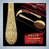 ODIOT : Antique French Vermeil Sterling Silver CHATEAUBRIAND 2pc Ice Cream Server Set, Original Box