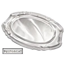 """PUIFORCAT : Exceptional 21.9"""" Antique French Sterling Silver Serving Platter / Tray - 2248 grams!"""