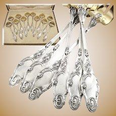 Antique French Art Nouveau Sterling Silver & Vermeil POPPY Oyster Fork Set 12pc Original Box