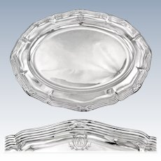 "ODIOT : Prestigious Antique French Sterling Silver 16.9"" Oval Platter / Serving Tray, Louis XVI style"