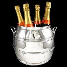 LALE : Spectacular Sterling Silver Wine Barrel Form Champagne Cooler 3315 grams - Provenance Alberto PINTO