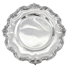 """SOUFFLOT : Antique French Sterling Silver 10.4"""" Serving Platter Louis XV FAUN / SATYR"""