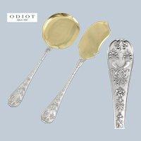 "ODIOT : Rare Antique French Sterling Silver & Vermeil ""NAPOLEON"" Ice Cream Server Set 2pc"