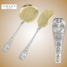 "ODIOT : Rare Antique French Sterling Silver & Vermeil ""NAPOLEON"" Ice Cream Server Set 2pc"