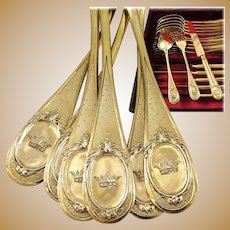 HENIN : Antique French Napoleon III Vermeil Sterling Silver Dessert Flatware Set MARQUIS CROWN