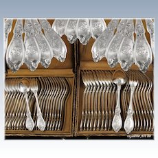 DOUTRE-ROUSSSEL : 48pc Antique French Sterling Silver Louis XV style Flatware Set, Original Boxes
