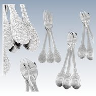 PUIFORCAT : Rare Antique French Sterling Silver SOUBISE Regency Pastry / Cake Fork Set