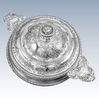 FRAY : Antique French Sterling Silver Regency 'BERAIN' Ecuelle Tureen & Stand 3pc