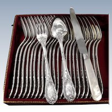 PUIFORCAT : 36pc Antique French Sterling Silver Flatware Set Louis XV Rococo