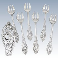 GRANDVIGNE : Sumptuous Antique French Sterling Silver Oyster Fork Set