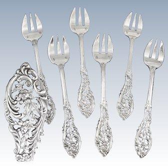 GRANDVIGNE : Sumptuous Antique French Sterling Silver Oyster Fork Set