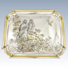 NICOUD : Rare Antique French Sterling Silver & Vermeil Japonism Tray - Birds Insects