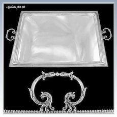 "VAGUER : Impressive 27"" Antique French Sterling Silver Empire style Tray GRIFFON Handles"